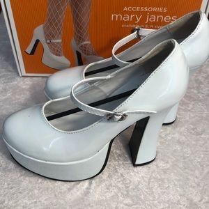 White Platform/Heel Mary Janes